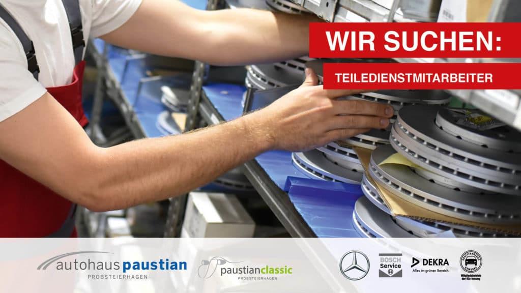 Stellenanzeige des Autohauses Paustian für Teiledienstmitarbeiter