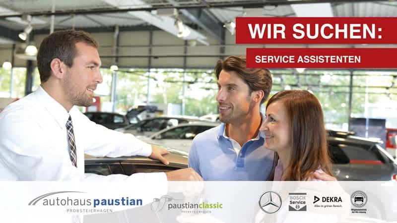 Stellenanzeige des Autohauses Paustian für Serviceassistenten