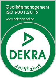 DEKRA Siegel zur Zertifizierung nach ISO 9001 im Jahr 2015